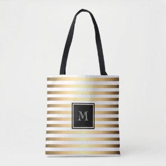 Gold White Stripes Pattern Tote Bag