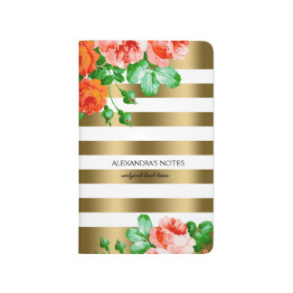 Gold & White Stripes & Red & Pink Roses Journal