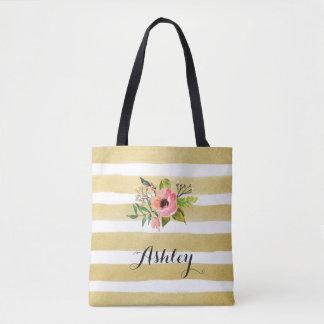 Gold White Stripes Watercolor Flower Monogram Tote Bag