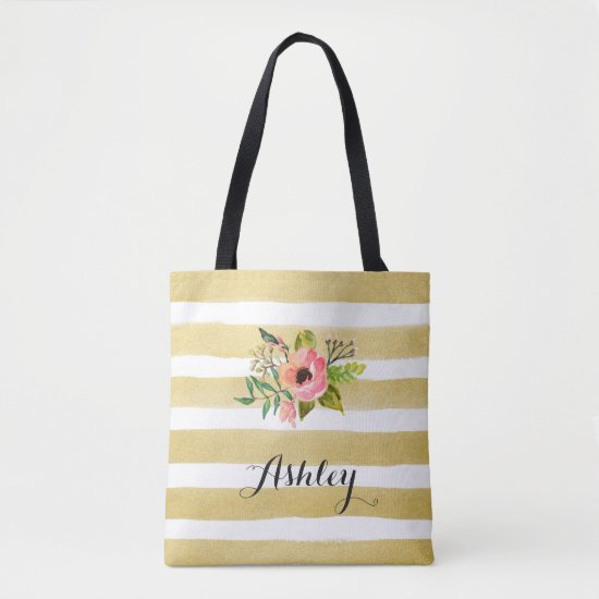 Gold White Stripes Watercolor Flower Monogram Tote Bag
