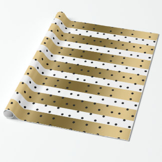 Gold & White Stripes With Black Polka Dots Wrapping Paper