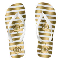 Gold & White Stripes With Nautical Boat Wheel Flip Flops