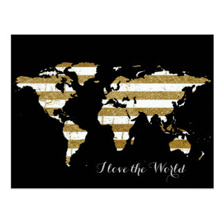 gold white stripes world map post cards