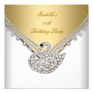Gold White Swan Elegant Birthday Party Card