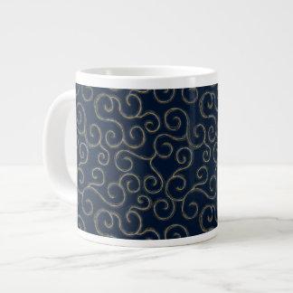 """Gold & White Swirls on Navy"" Large Coffee Mug"