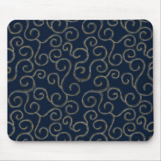 """Gold & White Swirls on Navy"" Mouse Pad"