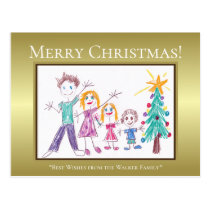 Gold. White Text. Add Your Child's Family Art Postcard
