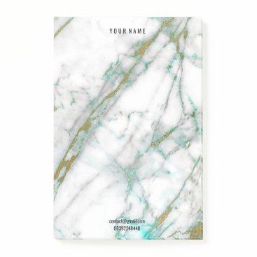 McTiffany Tiffany Aqua Gold White Tiffany Mint Marble Stone  Name Adress Post-it Notes