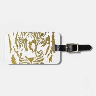 Gold White Tiger Design Travel Bag Tag