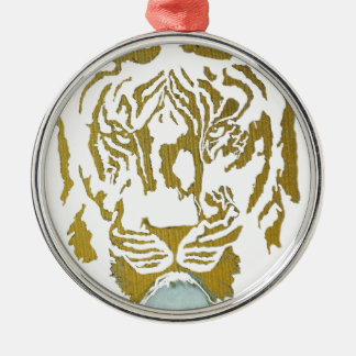 Gold/White Tiger Design Metal Ornament
