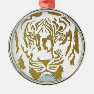 Gold/White Tiger Design Metal Ornament