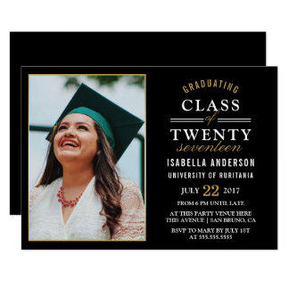 Gold & White Typography on Black | Graduate Photo Card