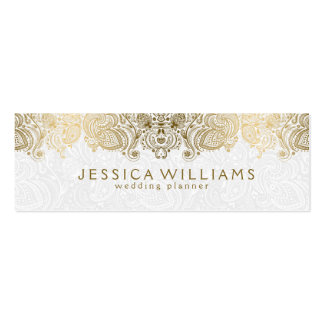 Gold & White Vintage Paisley Lace Wedding Planner Double-Sided Mini Business Cards (Pack Of 20)