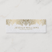 Gold & White Vintage Paisley Lace Wedding Planner Mini Business Card