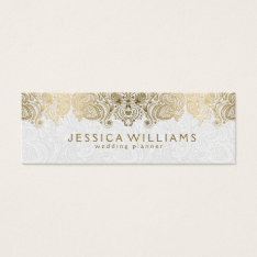Gold & White Vintage Paisley Lace Wedding Planner Mini Business Card at Zazzle