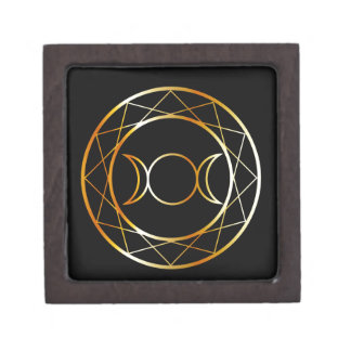 Gold Wiccan symbol Triple Goddess Gift Box