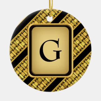 Gold Wicker Stripes Ceramic Ornament