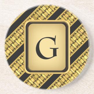 Gold Wicker Stripes Drink Coasters