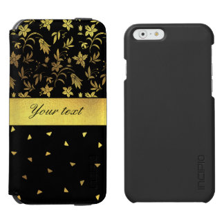 Gold Wildflowers and Scattered Triangles iPhone 6/6s Wallet Case