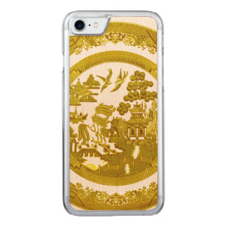 Gold willow pattern carved iPhone 7 case