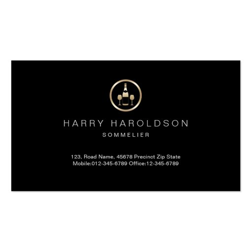 Gold Wine Icon Sommelier Business Card