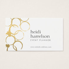 Gold Wine Stains Party Planner Business Card at Zazzle