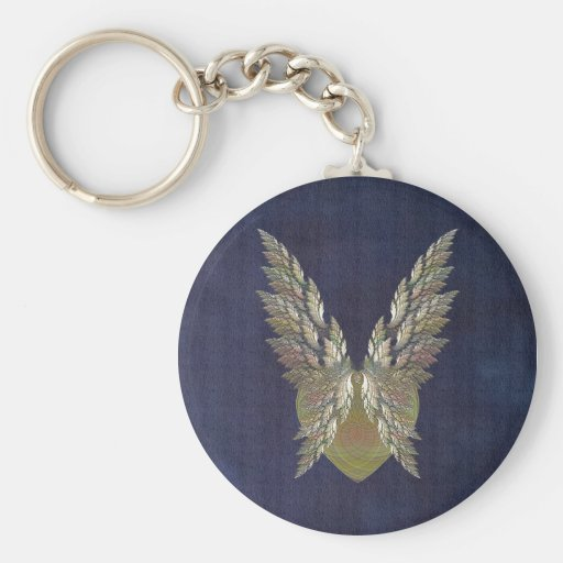 Gold Winged Heart Basic Round Button Keychain
