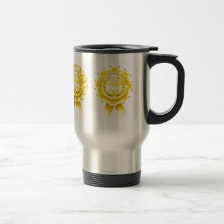 Gold winners laurel rosettes coffee mugs