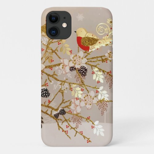 Gold Winter Snow Birds Country Christmas Phone Case