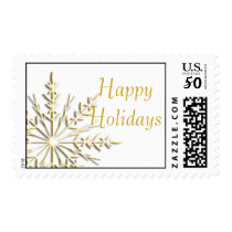 Gold Winter Snowflake Happy Holidays Postage