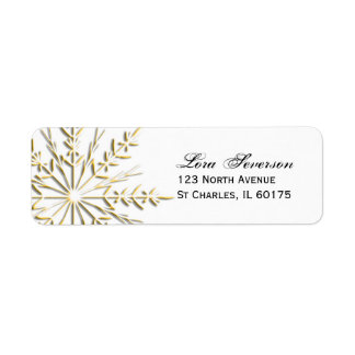 Gold Winter Snowflake on White Return Address Label