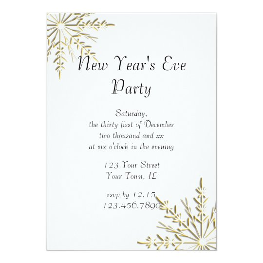 Gold Winter Snowflakes New Years Eve Party Invite