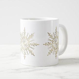 Gold Winter Snowflakes on White Giant Coffee Mug