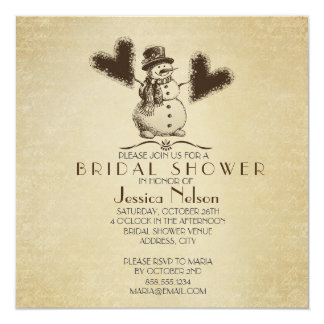 Gold Winter Snowman Bridal Shower Card