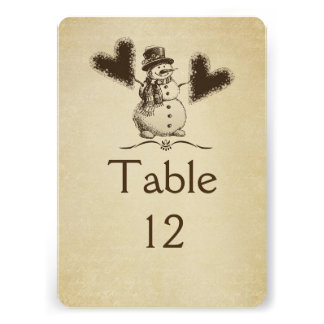 Gold Winter Snowman Table card