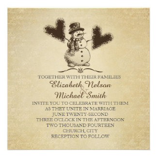 Gold Winter Snowman Wedding Invite