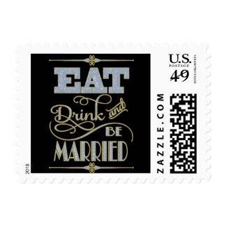 Gold With Blue Glitter Eat Drink And Be Married Postage Stamp