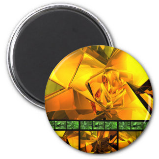 Gold With Green 2 Inch Round Magnet