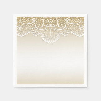 Gold with Lace, Cross, Religious Disposable Napkin