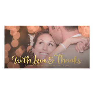 Gold With Love & Thanks Overlay Wedding Photo Card