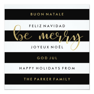 Gold with Modern Stripes International Christmas Card