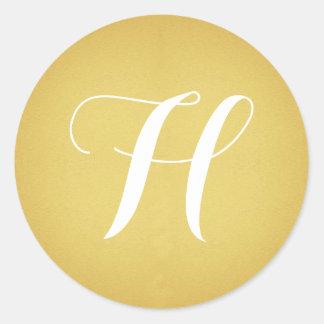 Gold with Monogram Classic Round Sticker