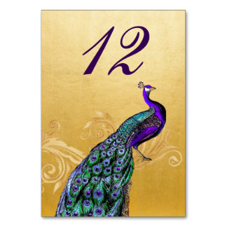 Gold with Peacock Wedding Table Number Card