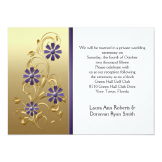 Gold with Purple Flowers Reception Only 5.5x7.5 Paper Invitation Card