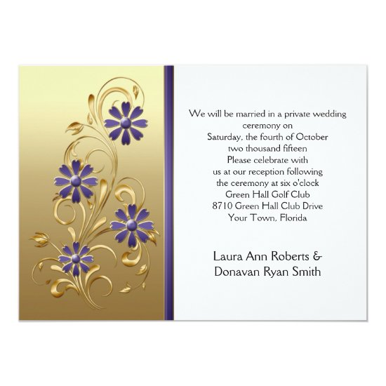 Gold with Purple Flowers Reception Only Invitation