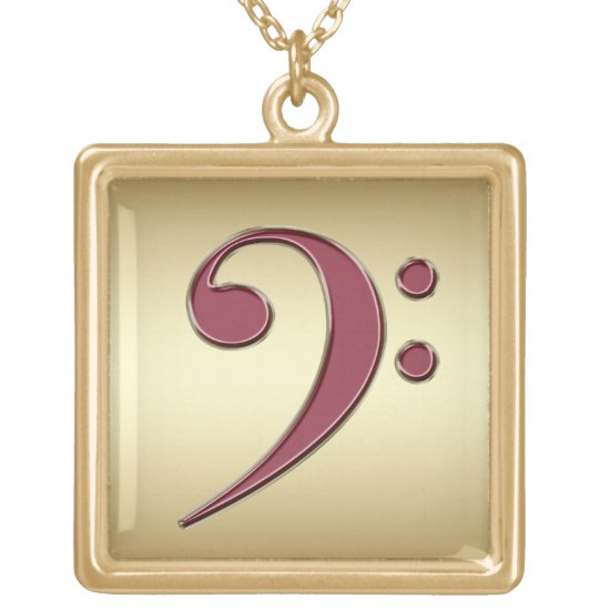 Gold with Red Bass Clef Music Necklace