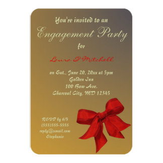 Gold with Red Bow Custom Engagement Party Invite