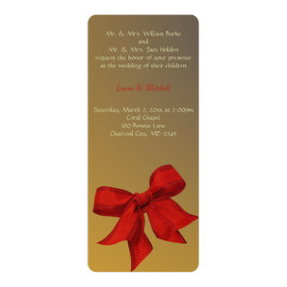 Gold with Red Bow Custom Wedding Invitation