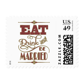 Gold With Red Glitter Eat Drink And Be Married Postage