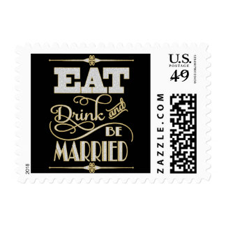 Gold With Silver Glitter Eat Drink And Be Married Postage
